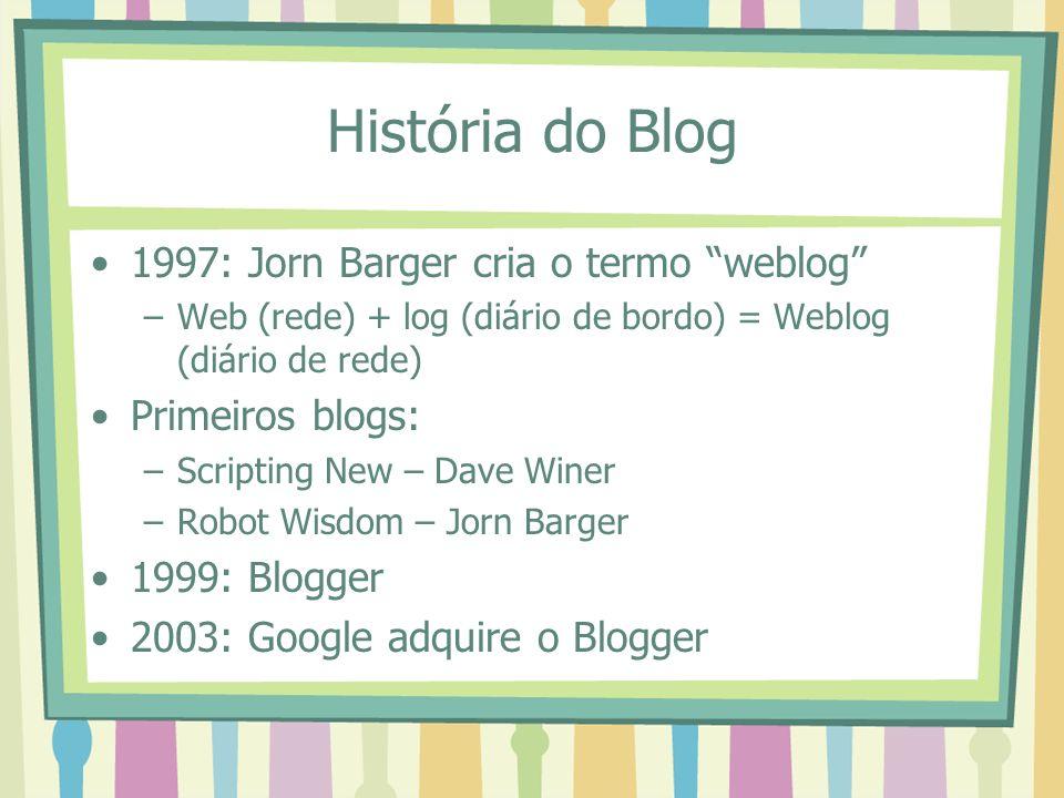 História do Blog 1997: Jorn Barger cria o termo weblog –Web (rede) + log (diário de bordo) = Weblog (diário de rede) Primeiros blogs: –Scripting New –