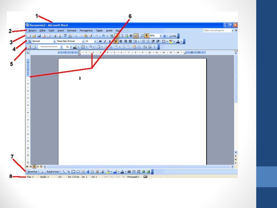Funções 1- Barra de T í tulos: é onde encontramos algumas informa ç ões importantes sobre que arquivo e programa estamos utilizando no momento.