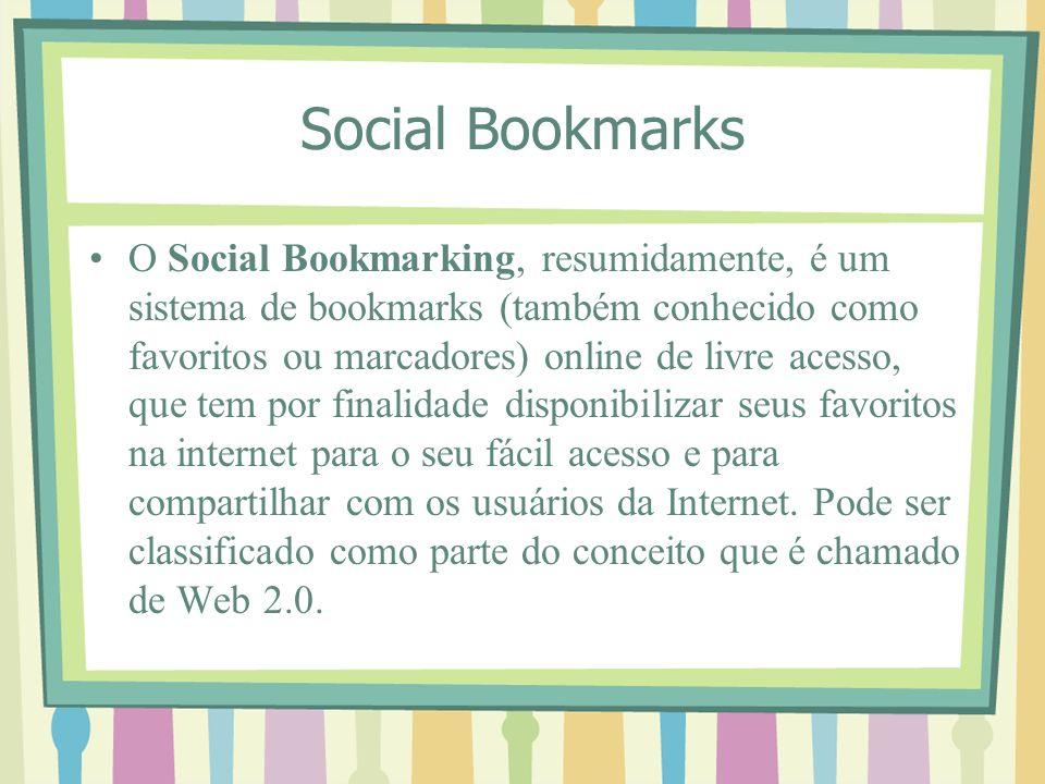 Social Bookmarks O Social Bookmarking, resumidamente, é um sistema de bookmarks (também conhecido como favoritos ou marcadores) online de livre acesso, que tem por finalidade disponibilizar seus favoritos na internet para o seu fácil acesso e para compartilhar com os usuários da Internet.