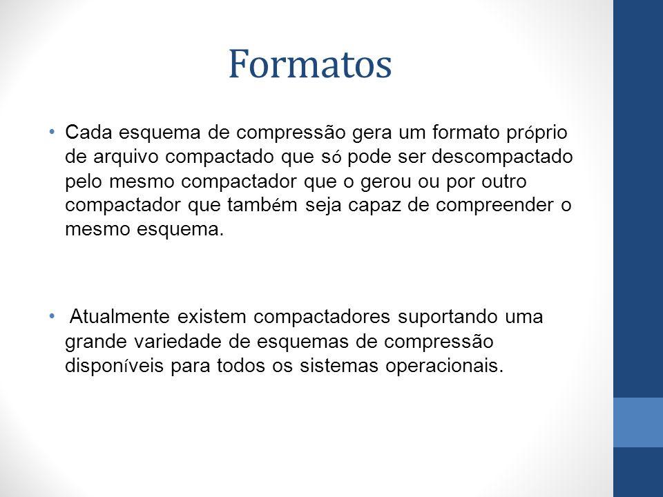 Formatos Cada esquema de compressão gera um formato pr ó prio de arquivo compactado que s ó pode ser descompactado pelo mesmo compactador que o gerou ou por outro compactador que tamb é m seja capaz de compreender o mesmo esquema.