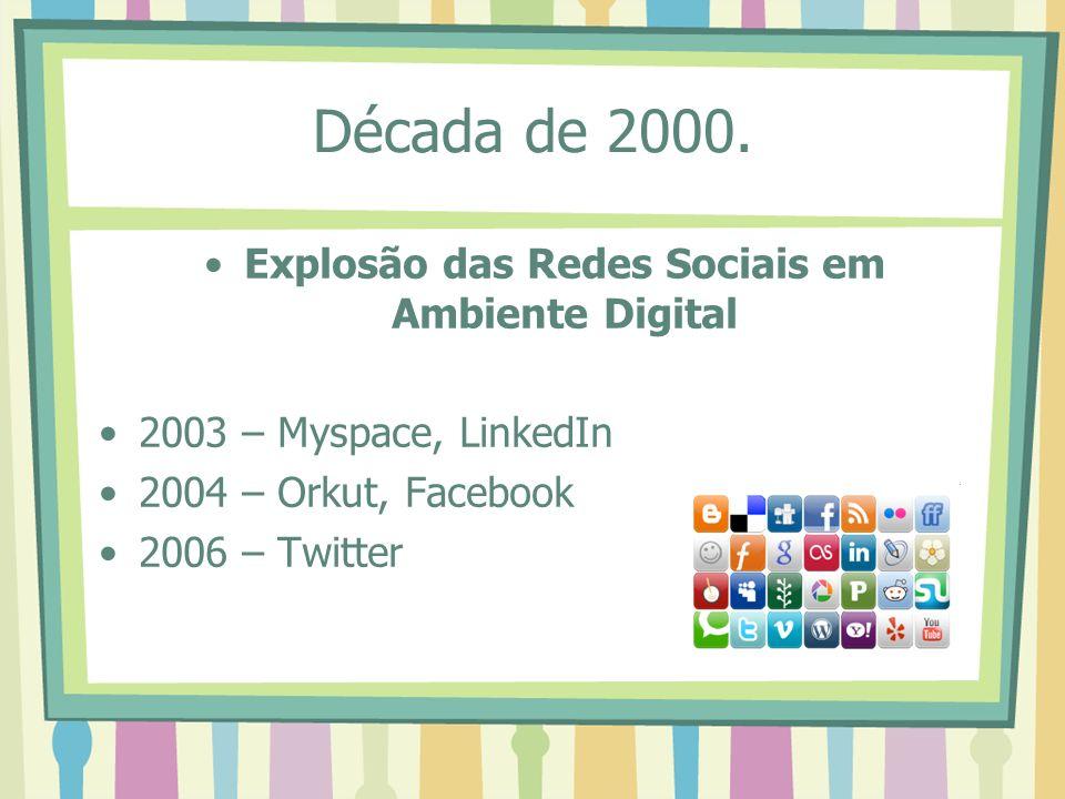 Década de 2000. Explosão das Redes Sociais em Ambiente Digital 2003 – Myspace, LinkedIn 2004 – Orkut, Facebook 2006 – Twitter