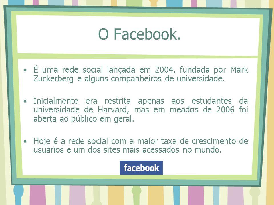 O Facebook. É uma rede social lançada em 2004, fundada por Mark Zuckerberg e alguns companheiros de universidade. Inicialmente era restrita apenas aos
