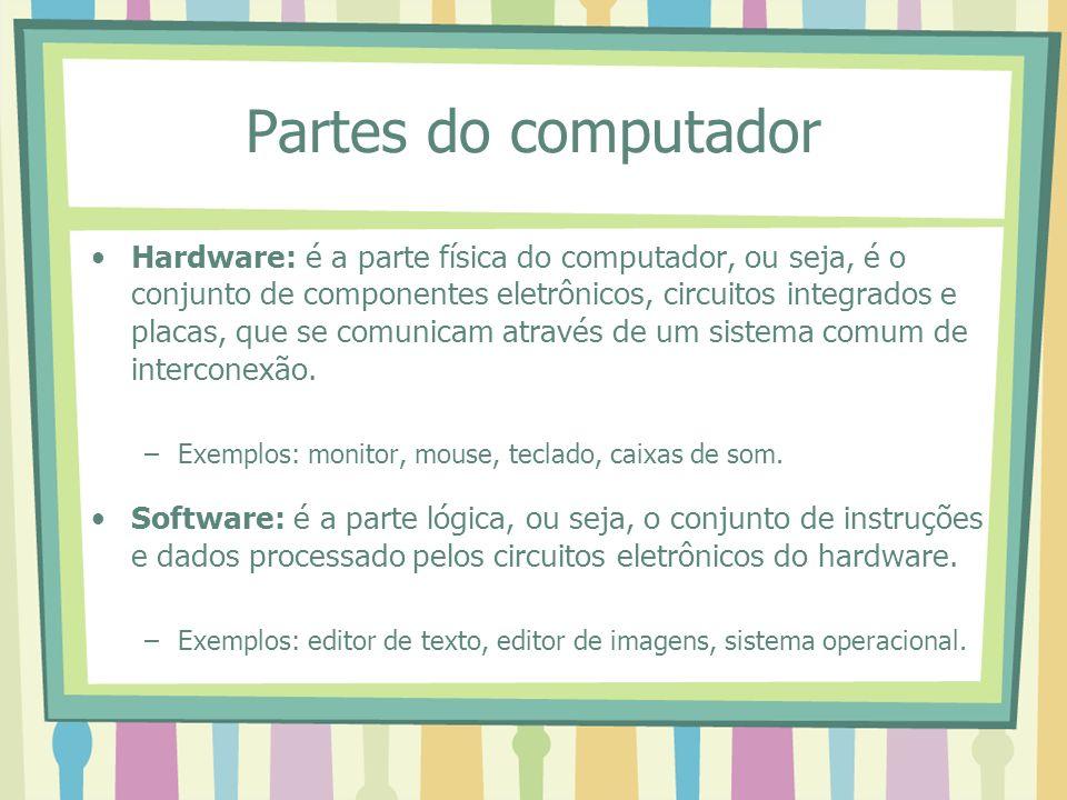Partes do computador Hardware: é a parte física do computador, ou seja, é o conjunto de componentes eletrônicos, circuitos integrados e placas, que se