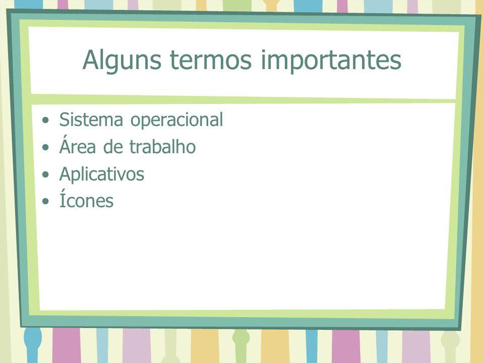 Alguns termos importantes Sistema operacional Área de trabalho Aplicativos Ícones