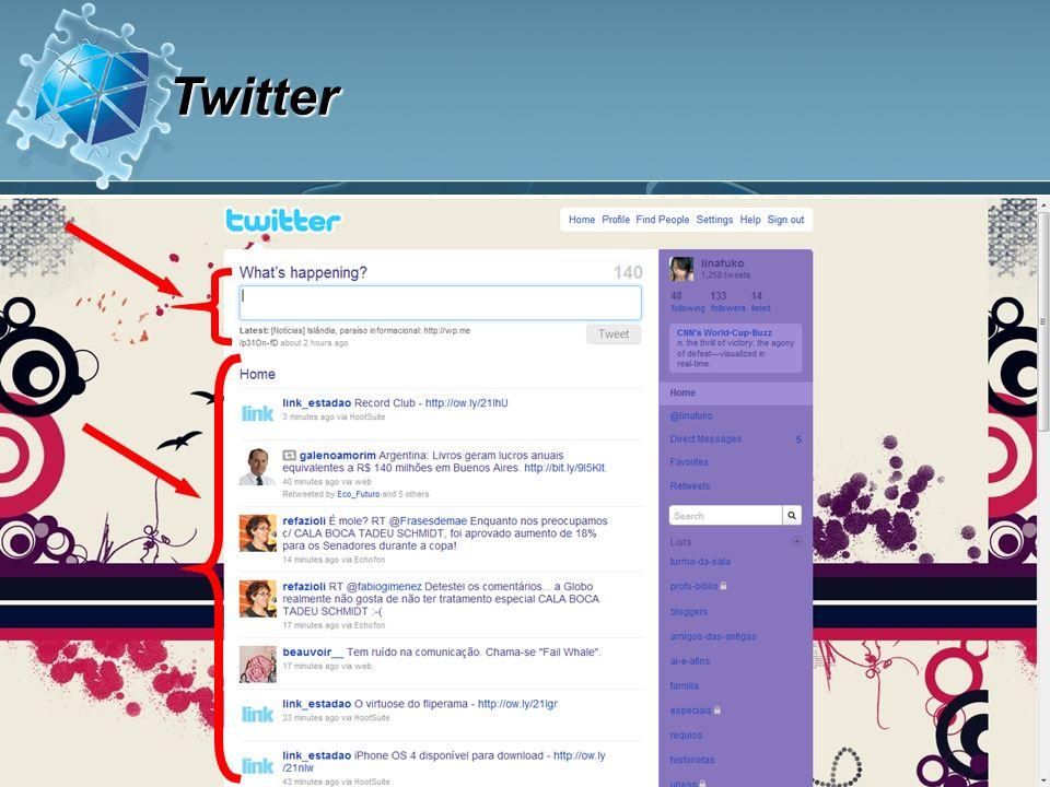 Compartilhar notas breves sobre sua vida, interesses e dia-a-dia Seguir as atualizações das pessoas que você gosta Compartilhar informações interessantes Discutir e conversar com outras pessoas: bar O que você pode fazer no Twitter?