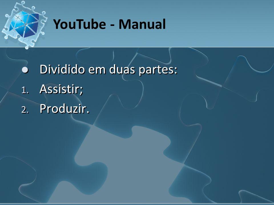 YouTube - Manual Dividido em duas partes: 1. Assistir; 2. Produzir.