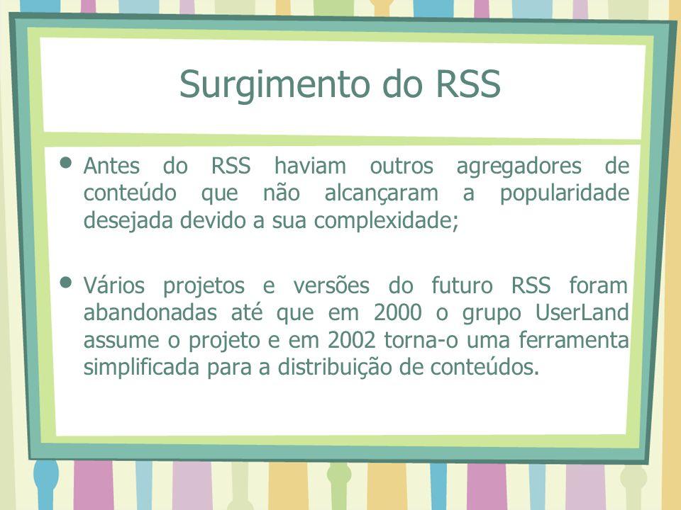 Surgimento do RSS Antes do RSS haviam outros agregadores de conteúdo que não alcançaram a popularidade desejada devido a sua complexidade; Vários projetos e versões do futuro RSS foram abandonadas até que em 2000 o grupo UserLand assume o projeto e em 2002 torna-o uma ferramenta simplificada para a distribuição de conteúdos.
