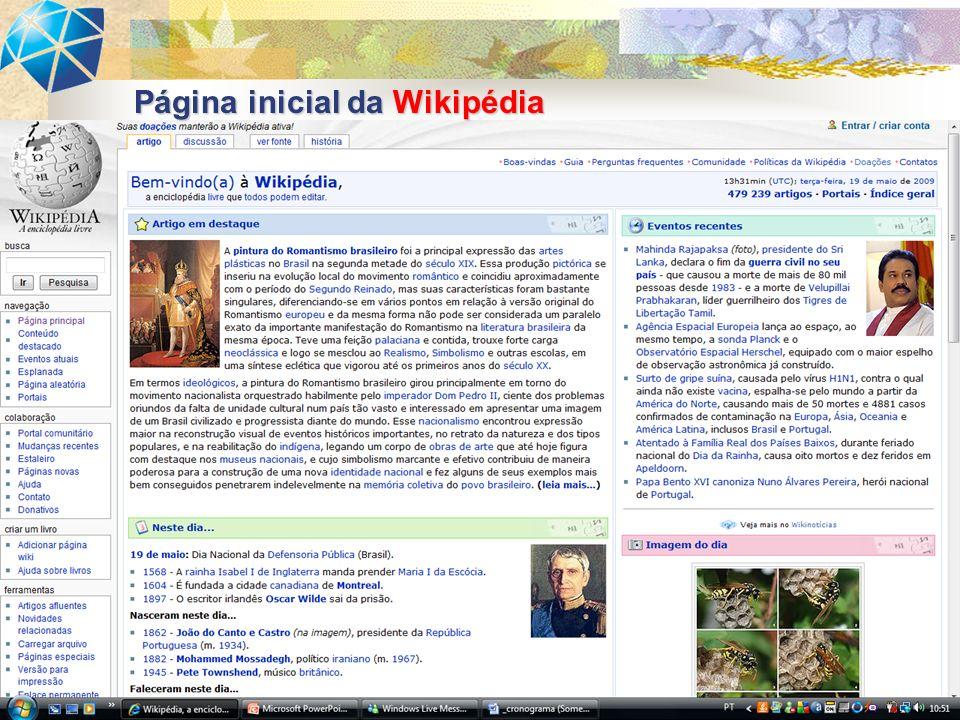 Página inicial da Wikipédia