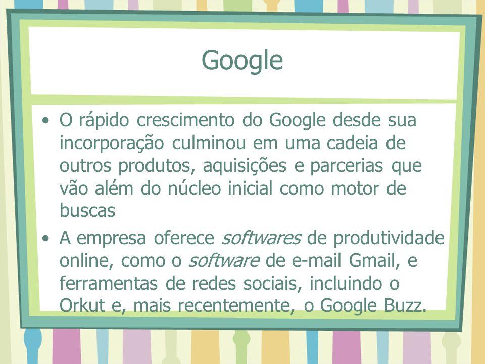 Google O rápido crescimento do Google desde sua incorporação culminou em uma cadeia de outros produtos, aquisições e parcerias que vão além do núcleo