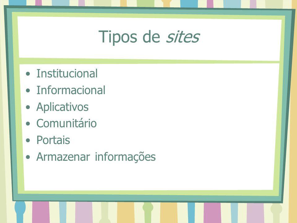 Tipos de sites Institucional Informacional Aplicativos Comunitário Portais Armazenar informações