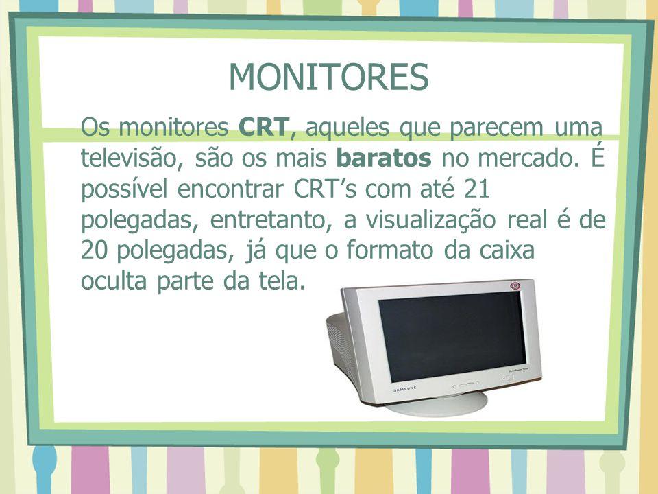 MONITORES Os monitores CRT, aqueles que parecem uma televisão, são os mais baratos no mercado. É possível encontrar CRTs com até 21 polegadas, entreta