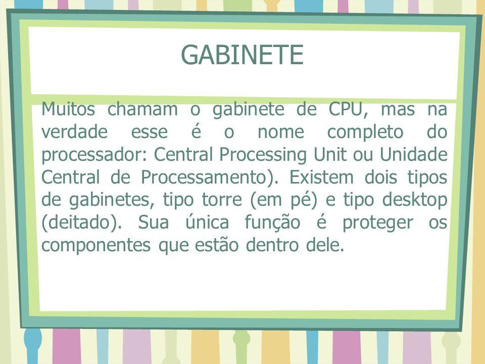 GABINETE Muitos chamam o gabinete de CPU, mas na verdade esse é o nome completo do processador: Central Processing Unit ou Unidade Central de Processa
