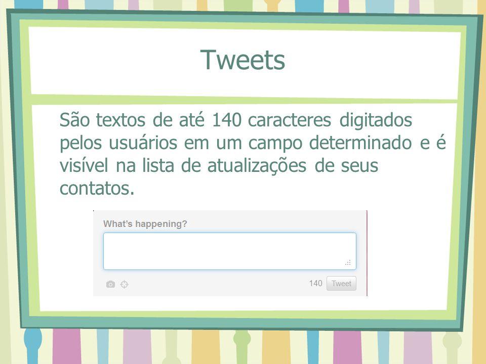 Tweets São textos de até 140 caracteres digitados pelos usuários em um campo determinado e é visível na lista de atualizações de seus contatos.