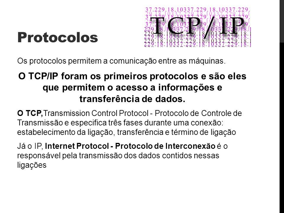 Protocolos Os protocolos permitem a comunicação entre as máquinas. O TCP/IP foram os primeiros protocolos e são eles que permitem o acesso a informaçõ