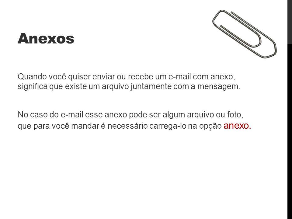 Anexos Quando você quiser enviar ou recebe um e-mail com anexo, significa que existe um arquivo juntamente com a mensagem. No caso do e-mail esse anex