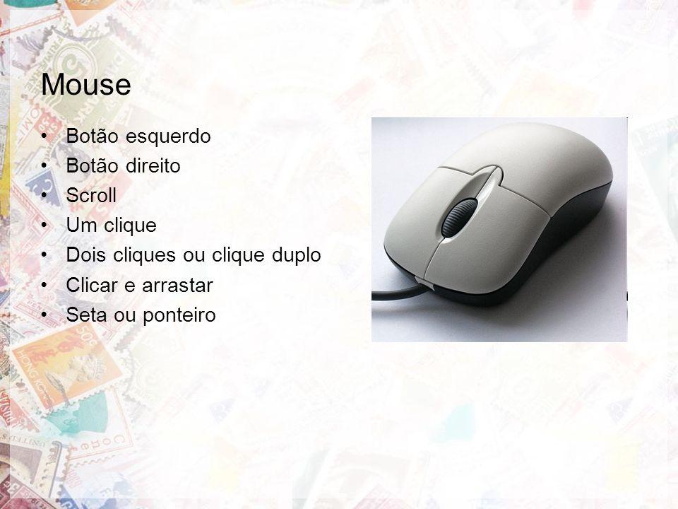Mouse Botão esquerdo Botão direito Scroll Um clique Dois cliques ou clique duplo Clicar e arrastar Seta ou ponteiro