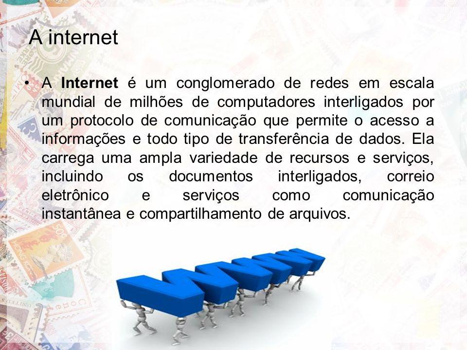 A Internet é um conglomerado de redes em escala mundial de milhões de computadores interligados por um protocolo de comunicação que permite o acesso a informações e todo tipo de transferência de dados.