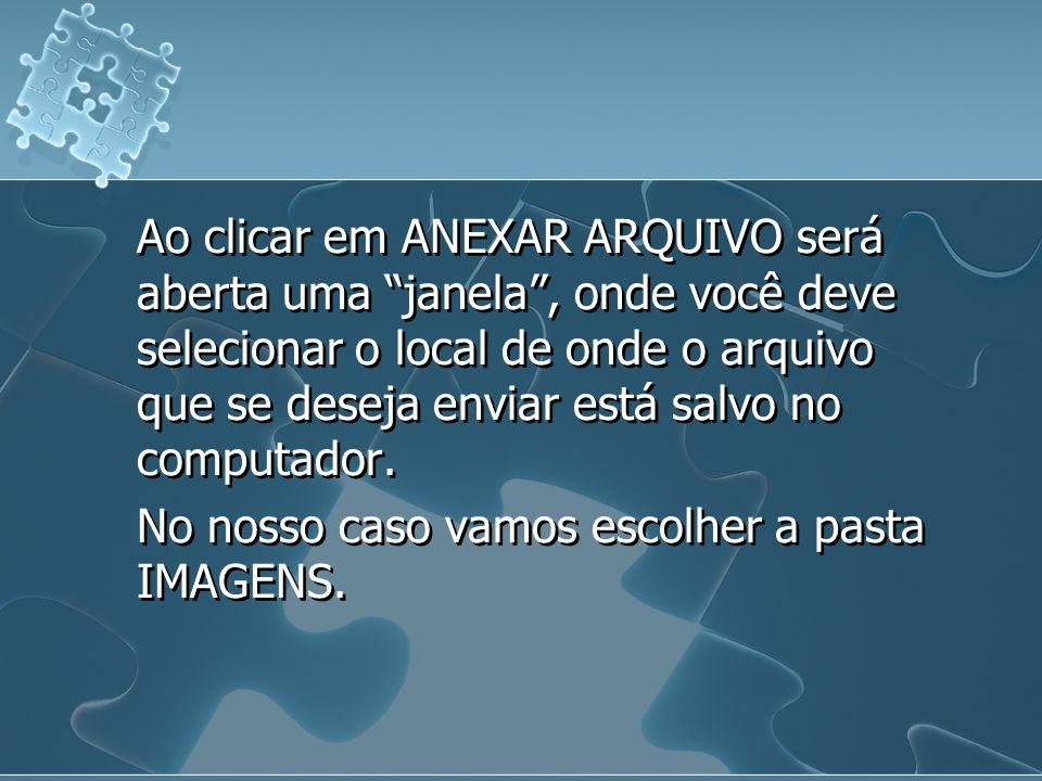 Ao clicar em ANEXAR ARQUIVO será aberta uma janela, onde você deve selecionar o local de onde o arquivo que se deseja enviar está salvo no computador.