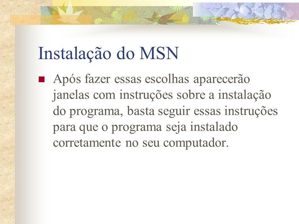 Instalação do MSN Após fazer essas escolhas aparecerão janelas com instruções sobre a instalação do programa, basta seguir essas instruções para que o