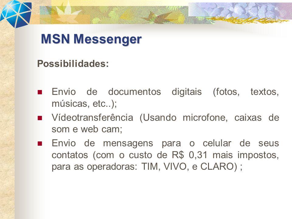 Possibilidades: Envio de documentos digitais (fotos, textos, músicas, etc..); Vídeotransferência (Usando microfone, caixas de som e web cam; Envio de