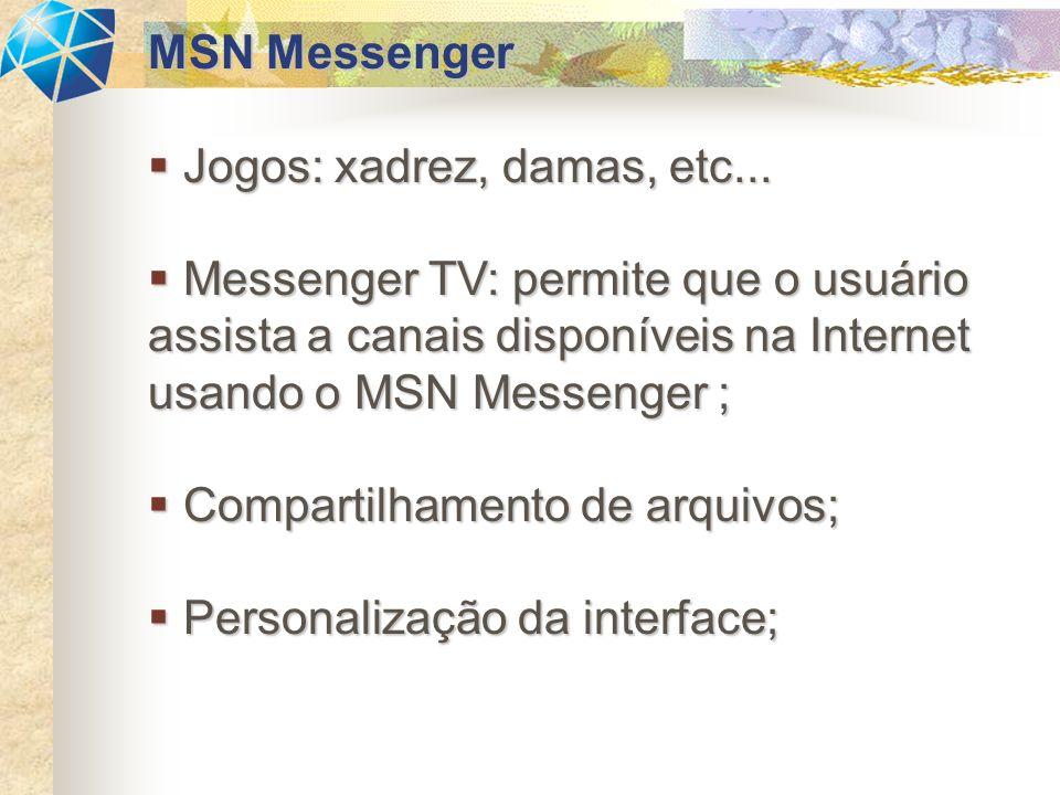 Jogos: xadrez, damas, etc... Jogos: xadrez, damas, etc... Messenger TV: permite que o usuário assista a canais disponíveis na Internet usando o MSN Me