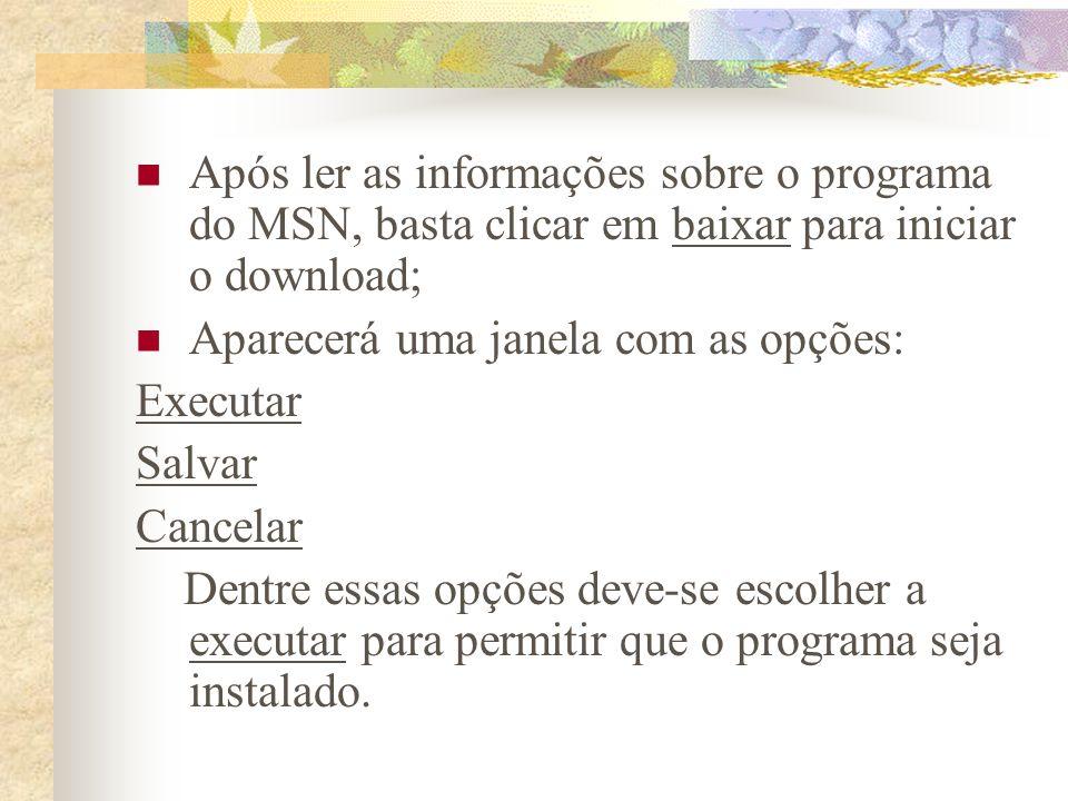 Instalação do MSN Após fazer essas escolhas aparecerão janelas com instruções sobre a instalação do programa, basta seguir essas instruções para que o programa seja instalado corretamente no seu computador.