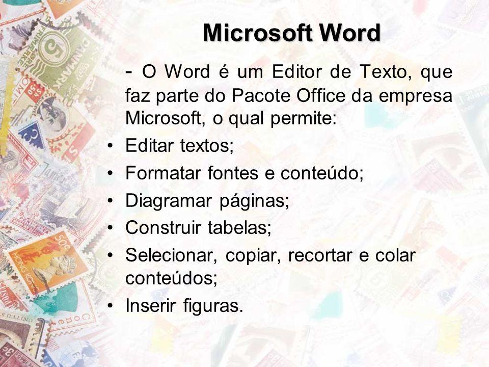 Microsoft Word - O Word é um Editor de Texto, que faz parte do Pacote Office da empresa Microsoft, o qual permite: Editar textos; Formatar fontes e conteúdo; Diagramar páginas; Construir tabelas; Selecionar, copiar, recortar e colar conteúdos; Inserir figuras.