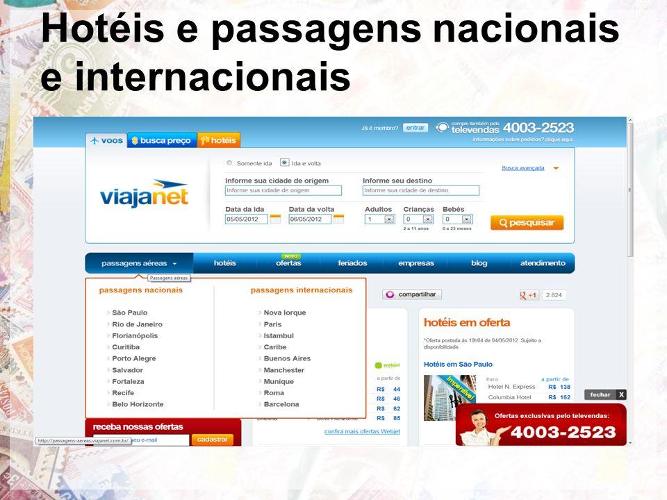Hotéis e passagens nacionais e internacionais