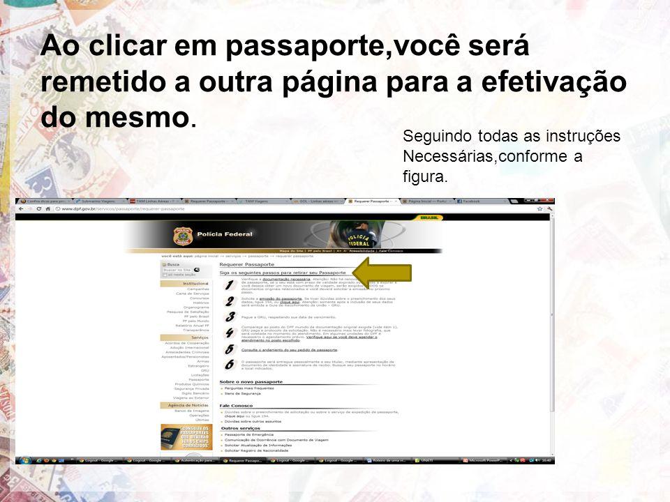 Ao clicar em passaporte,você será remetido a outra página para a efetivação do mesmo.