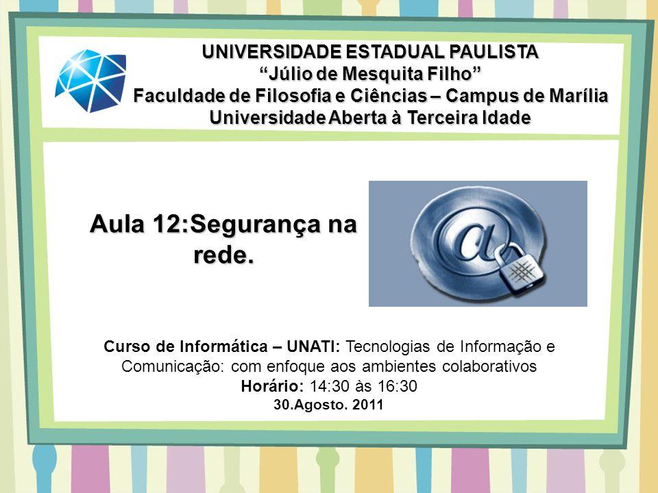 Aula 12:Segurança na rede. UNIVERSIDADE ESTADUAL PAULISTA Júlio de Mesquita Filho Faculdade de Filosofia e Ciências – Campus de Marília Universidade A