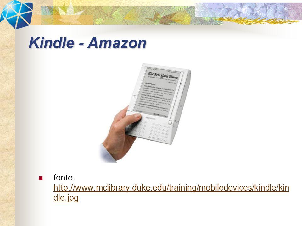 fonte: http://www.mclibrary.duke.edu/training/mobiledevices/kindle/kin dle.jpg http://www.mclibrary.duke.edu/training/mobiledevices/kindle/kin dle.jpg