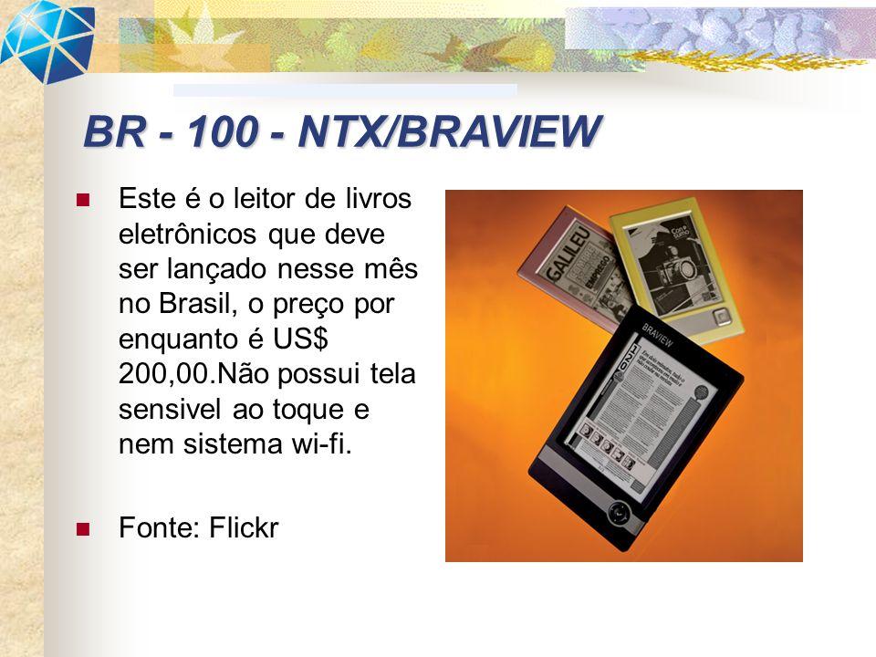 Este é o leitor de livros eletrônicos que deve ser lançado nesse mês no Brasil, o preço por enquanto é US$ 200,00.Não possui tela sensivel ao toque e