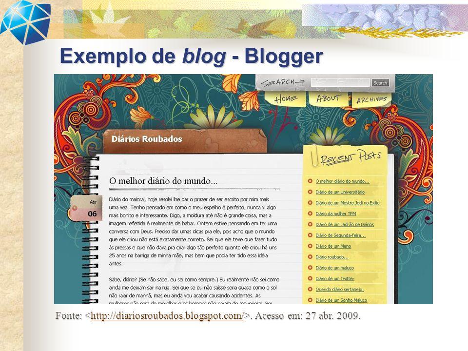 Exemplo de blog – Wordpress.com Fonte:.Acesso em: 27 abr.