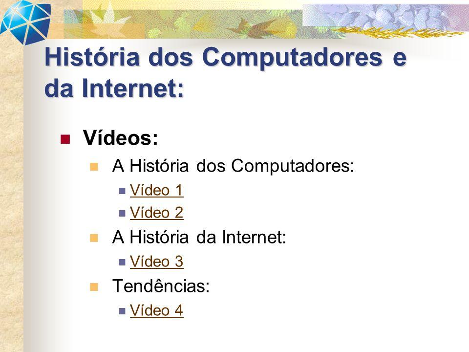 Vídeos: A História dos Computadores: Vídeo 1 Vídeo 2 A História da Internet: Vídeo 3 Tendências: Vídeo 4 História dos Computadores e da Internet: