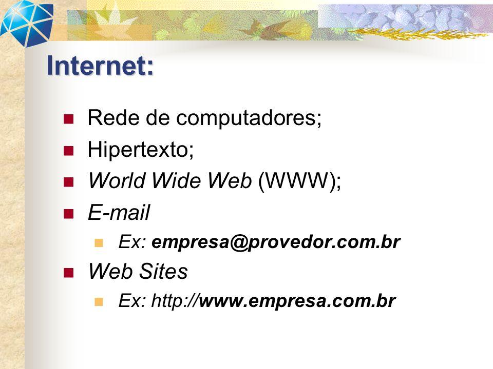 Rede de computadores; Hipertexto; World Wide Web (WWW); E-mail Ex: empresa@provedor.com.br Web Sites Ex: http://www.empresa.com.br Internet: