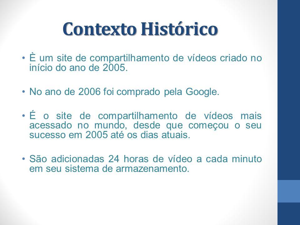 Contexto Histórico È um site de compartilhamento de vídeos criado no início do ano de 2005.
