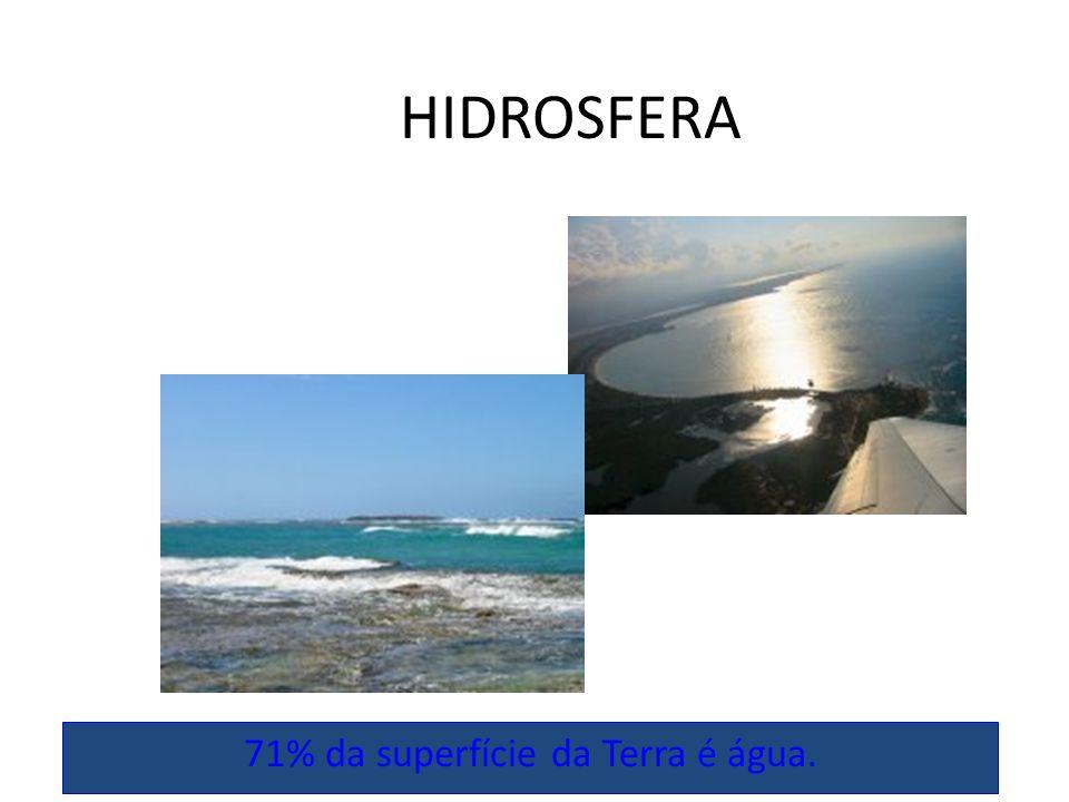 HIDROSFERA 71% da superfície da Terra é água.