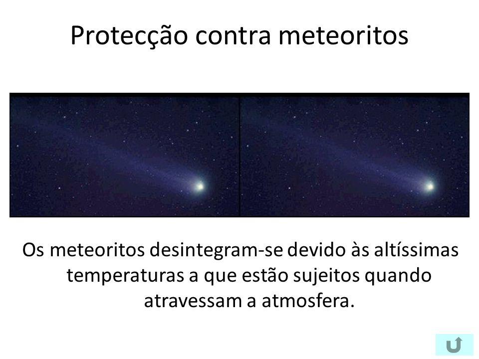 Protecção contra meteoritos Os meteoritos desintegram-se devido às altíssimas temperaturas a que estão sujeitos quando atravessam a atmosfera.