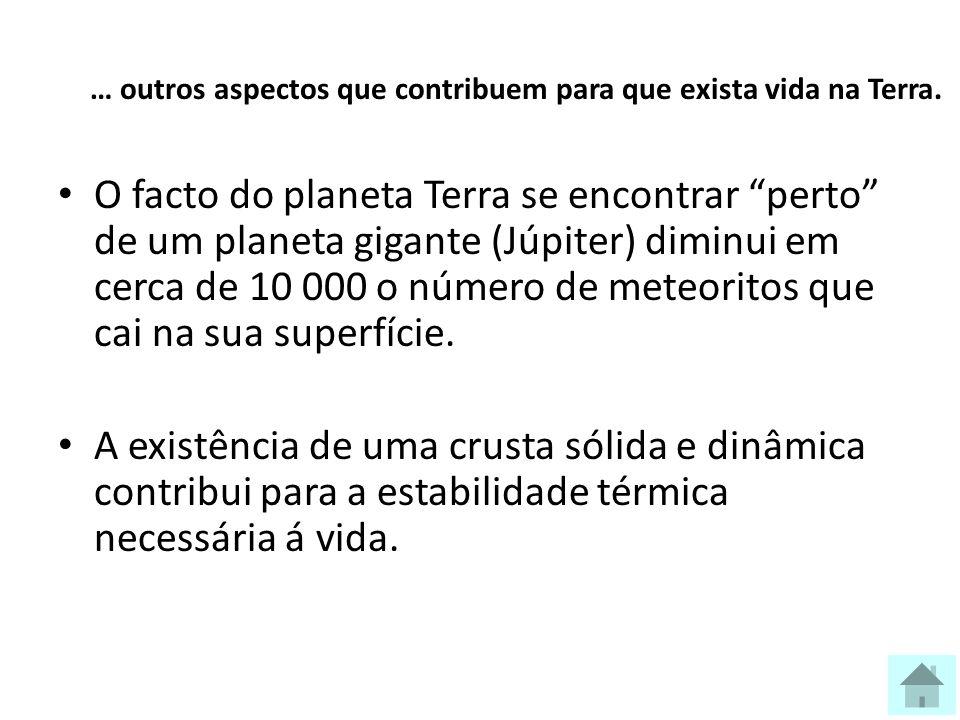 … outros aspectos que contribuem para que exista vida na Terra.