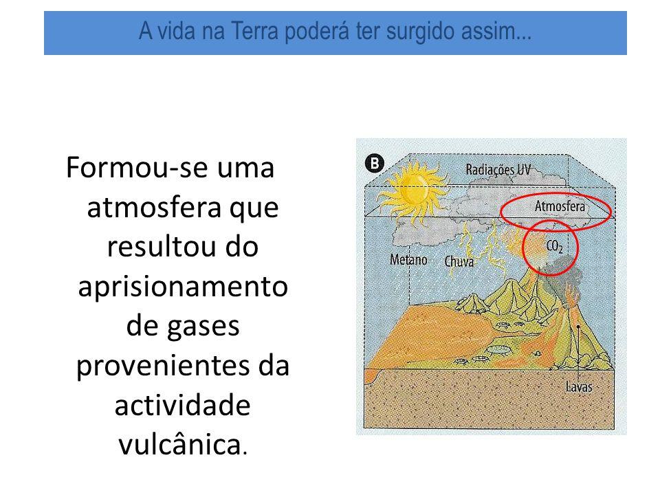 Formou-se uma atmosfera que resultou do aprisionamento de gases provenientes da actividade vulcânica.