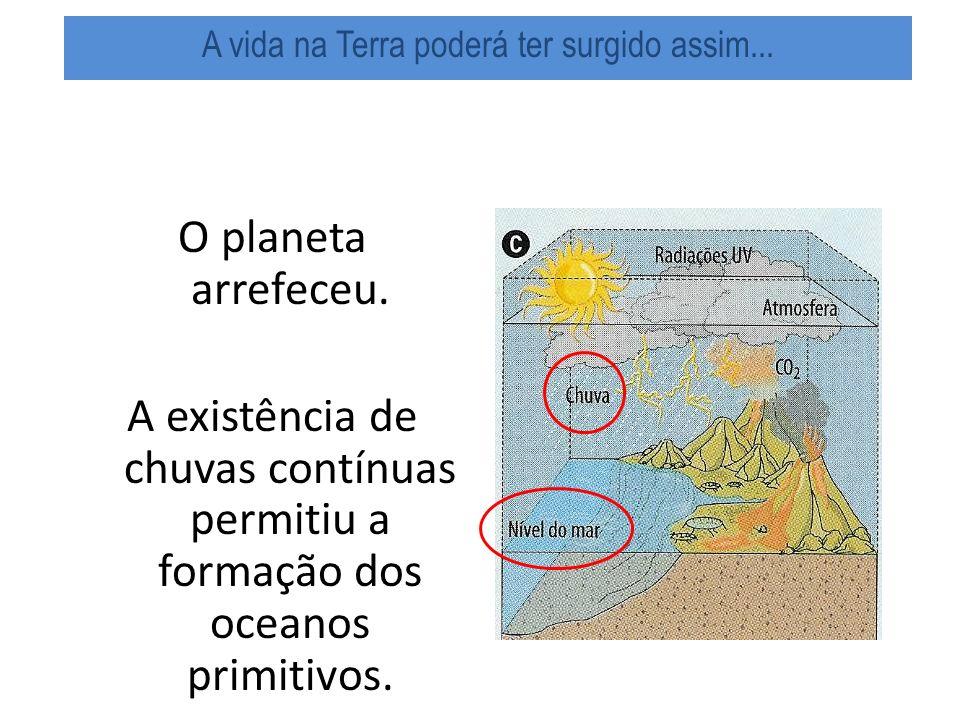 O planeta arrefeceu.A existência de chuvas contínuas permitiu a formação dos oceanos primitivos.