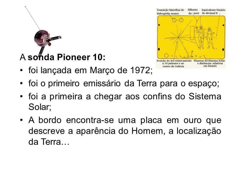 A sonda Pioneer 10: foi lançada em Março de 1972; foi o primeiro emissário da Terra para o espaço; foi a primeira a chegar aos confins do Sistema Solar; A bordo encontra-se uma placa em ouro que descreve a aparência do Homem, a localização da Terra…
