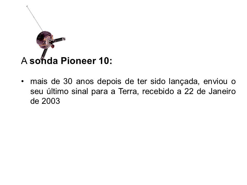 A sonda Pioneer 10: mais de 30 anos depois de ter sido lançada, enviou o seu último sinal para a Terra, recebido a 22 de Janeiro de 2003