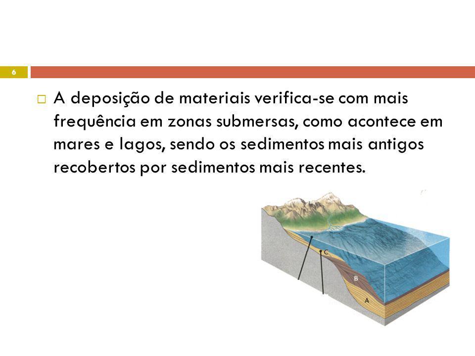 Simultaneamente com a deposição de partículas sedimentares, pode ocorrer a deposição de organismos mortos, que acabam por ficar recobertos pelos sedimentos que continuam a depositar-se.