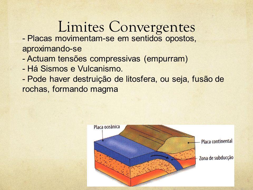 Limites Convergentes - Placas movimentam-se em sentidos opostos, aproximando-se - Actuam tensões compressivas (empurram) - Há Sismos e Vulcanismo. - P