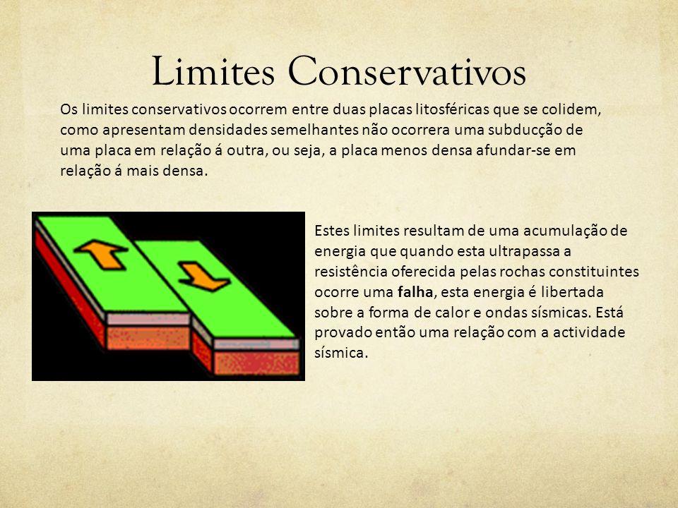 Limites Conservativos Os limites conservativos ocorrem entre duas placas litosféricas que se colidem, como apresentam densidades semelhantes não ocorr