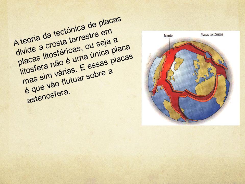 A teoria da tectónica de placas divide a crosta terrestre em placas litosféricas, ou seja a litosfera não é uma única placa mas sim várias. E essas pl