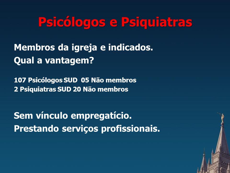 Psicólogos e Psiquiatras Membros da igreja e indicados.