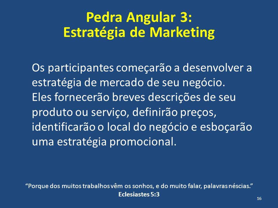 Pedra Angular 3: Estratégia de Marketing Os participantes começarão a desenvolver a estratégia de mercado de seu negócio. Eles fornecerão breves descr