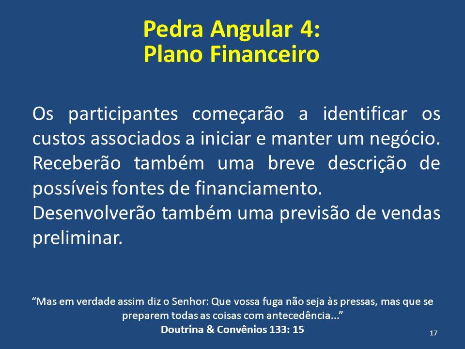 Pedra Angular 4: Plano Financeiro Os participantes começarão a identificar os custos associados a iniciar e manter um negócio. Receberão também uma br